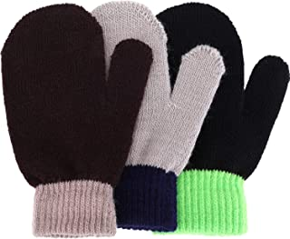 3 Pairs Toddler Magic Stretch Mittens Little Girls Soft Knit Mitten Baby Boys Winter Knitted Gloves