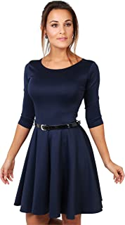 Krisp Womens 3/4 Sleeves Skater Fit and Flare Belted Mini Dress
