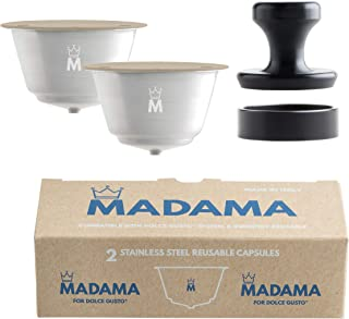 Madama - Capsules de café Dolce Gusto rechargeables, réutilisables et compatibles. Acier inoxydable et silicone de qualité...