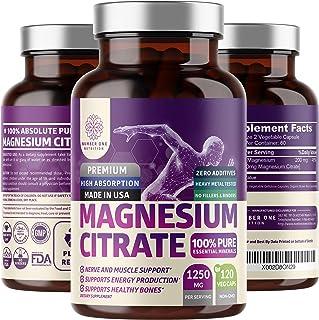 N1N Premium Magnesium Citrate Capsules 1250mg 120 Veg Caps [100% Pure] Powerful dose for Sleep, Muscle Cramps, Bone Health...