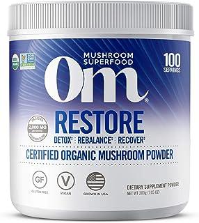 Om Organic Mushroom Nutrition Supplement, Restore: Detox, Recovery, Energy, 100 servings, 7.14oz, 200 Gram