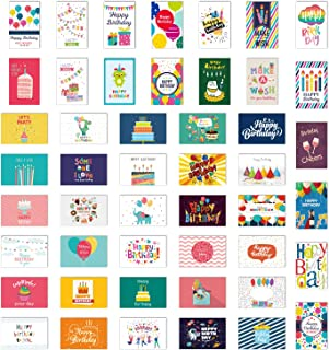 WRAPAHOLIC 48 Birthday Cards Assortment Bulk - Assorted Greeting Blank Note Cards with White Envelopes for Birthday, Baby Shower, Wedding, Bridal Shower and All Occasions 4x6 Inch