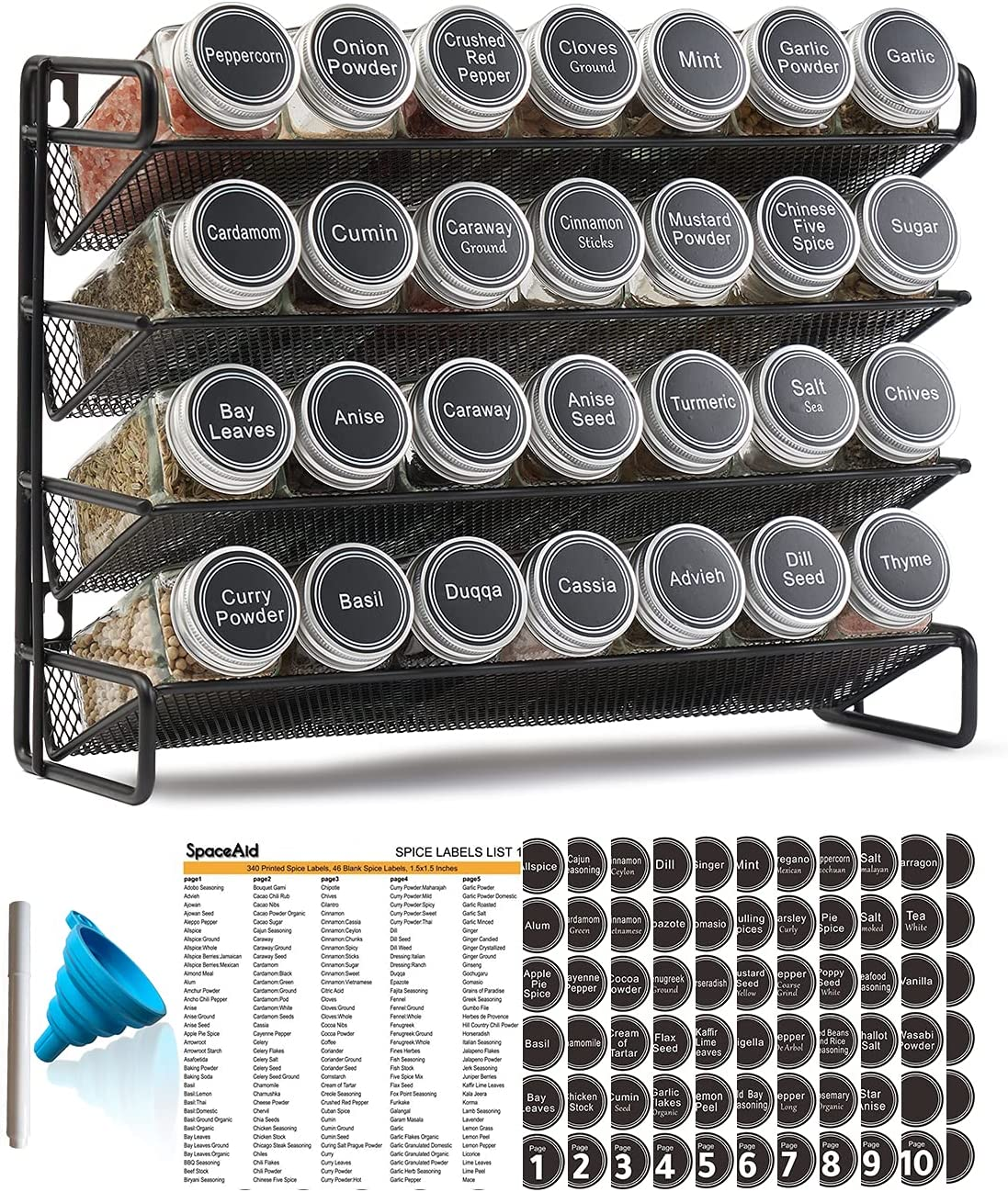 SpaceAid 4 Tier Spice Sale special price Max 44% OFF Rack Glass 28 with Organizer Jars