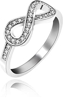 Uloveido Women's Platinum Plated Cubic Zirconia Infinity Knot Wedding Band Ring (Size 6 7 8 9) Y001
