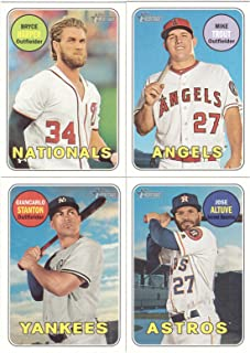 2018 Topps Heritage MLB Baseball Complete Mint Basic 400 Card Hand Collated Set Based Upon the Classic 1969 Topps Design