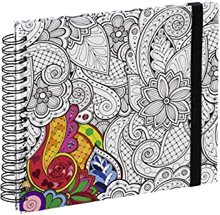 Hama Colorare Spiral Book (Book with 50 White Pages and Spiral Bound with Flower Tendril Design for Colouring, Format 28 x...
