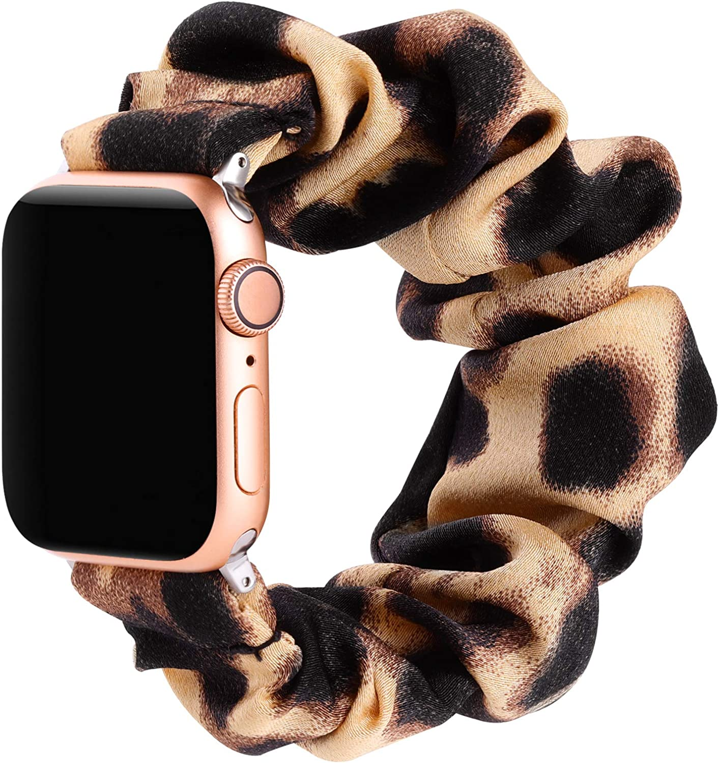 Simpeak Fashion Elastic Fabric Scrunchie Band Compatible with Apple Watch Series 6 SE 5 4 3 2 1, Soft Women Leopard Pattern Printed Bracelet Strap Replacement for iWatch 38mm 40mm,Large,Dark Leopard