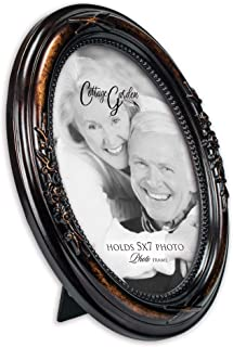 Cottage Garden Add Your Own Personal Photo Burlwood Finish Floral 5 x 7 Oval Table and Wall Photo Frame
