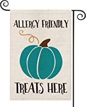 AVOIN Halloween Teal Pumpkin Garden Flag Vertical Double Sized, Allergy Friendly Treats Here Yard Outdoor Decoration 12.5 ...