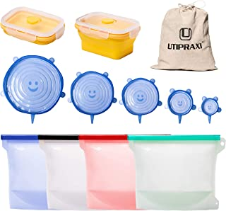 UTIPRAXI Silicone Food Storage Bags Bundle | 4 Reusable Silicone Bags 6 Stretch Lids + Bonus Container | Leakproof Zip Top Sandwich & Snack Bags | Eco-Friendly FDA Approved & No BPA