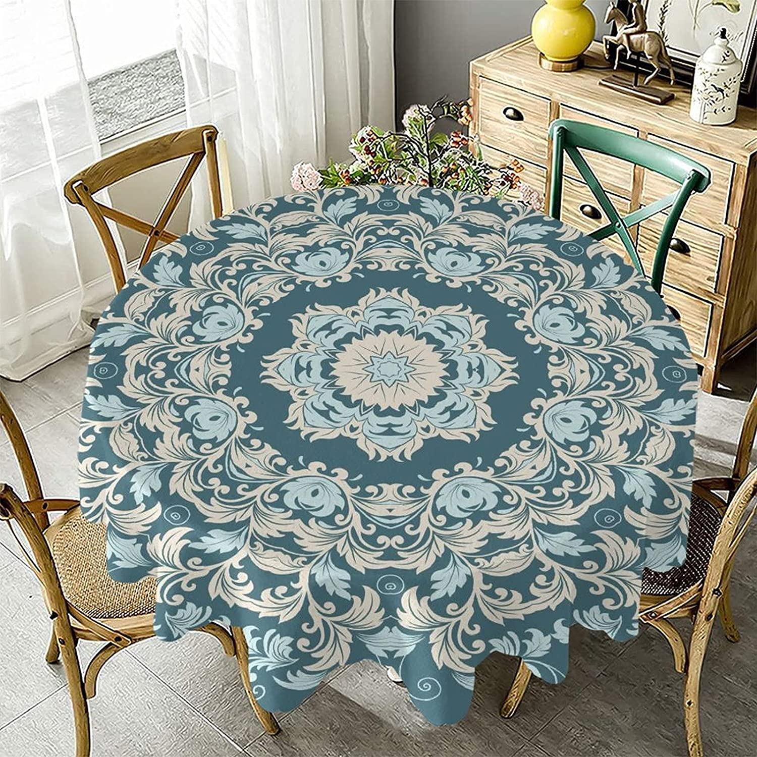 Round Luxury Tablecloth Waterproof Stain Selling and selling Wrinkle Washable Resistant
