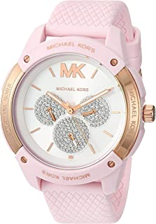Michael Kors Women's Ryder Stainless Steel Quartz Watch with Rubber Strap, Pink, 20 (Model: MK6702)