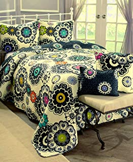 Virah Bella Nadira by Debra Valencia Black Cream White Boho Printed Quilt Set (King)