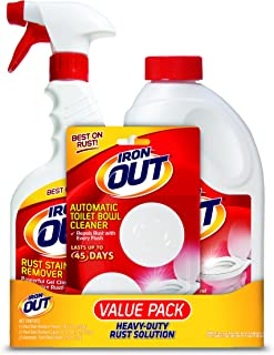 OUT Iron Rust Stain Remover Value Pack, 1 Each- Iron Powder (1 lb. 12 oz.), Iron Spray (16 fl. oz.) and 2-Use Iron Automatic Toilet Bowl Cleaner
