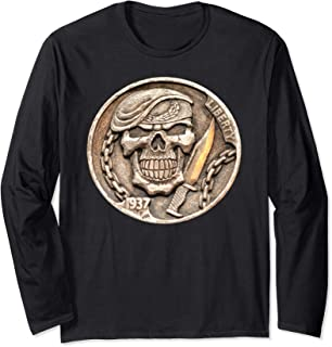 Buffalo Nickel Beret Skull ~ Combat Soldier Knife Long Sleeve T-Shirt
