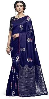 Sareeka Saree Women's Banarasi Silk Saree with Blouse (Navy Blue_zm01)