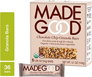 MadeGood Chocolate Chip Granola Bars, 6 Pack (36 bars); Gluten Free Oats and Delicious Chocolate Chips; Contains Nutrients...