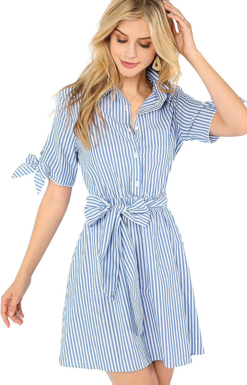 Romwe Women's Cute Striped Belted Button up Collar Summer Short Shirt Dress