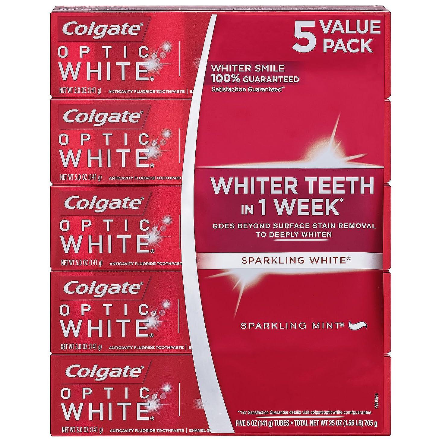 ラインナップフィヨルドブラウズ海外直送品 Colgate Optic White コルゲート オプティック ホワイト スパークリングミント141g ×5本 [Pack of 5]