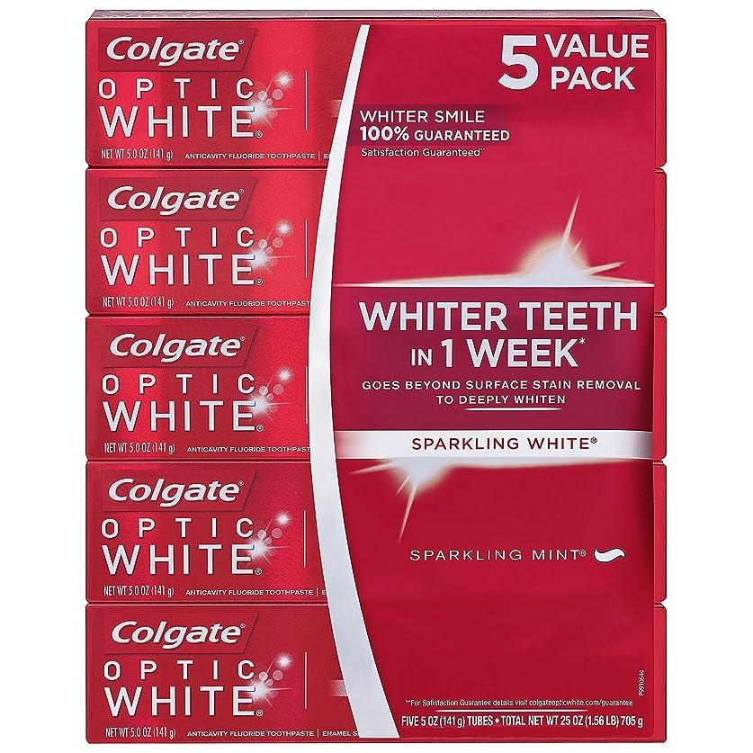 中断傾向がある派手海外直送品 Colgate Optic White コルゲート オプティック ホワイト スパークリングミント141g ×5本 [Pack of 5]
