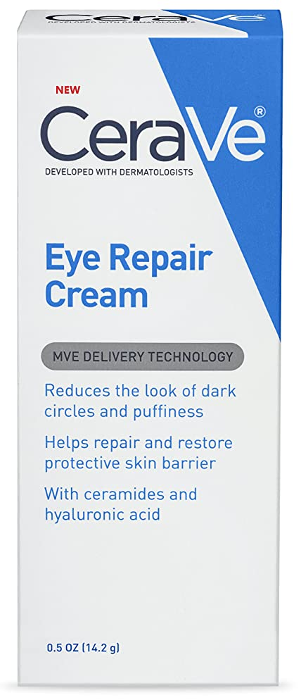 CeraVe Eye Repair Cream | 0.5 Ounce | Eye Cream for Dark Circles and Puffiness | Fragrance Free