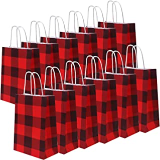 Cooraby 20 Pieces Red and Black Plaid Paper Party Bags Christmas Gift Bag Birthday Kraft Party Bags with Handle for Wedding and Party Celebrations (Red and Black Plaid)
