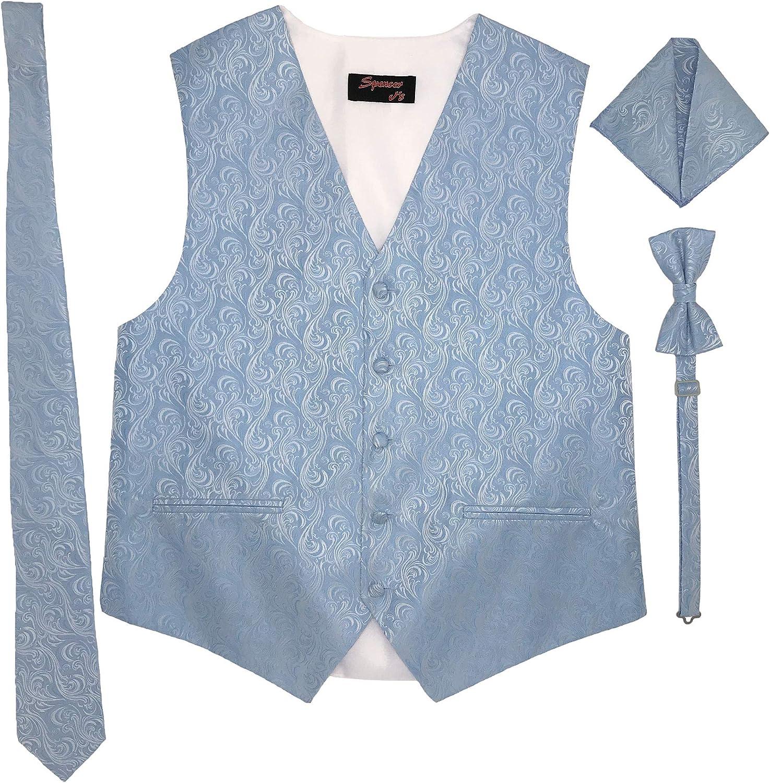Spencer J's Men's Formal Tuxedo Suit Vest Imperial Tie Bowtie and Pocket Square 4 Piece Set Variety of Colors