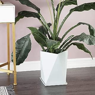 "CosmoLiving by Cosmopolitan Modern Geometric Light Aqua Ceramic Indoor & Outdoor Planter | 12"" x 13"""