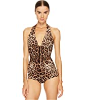 Dolce & Gabbana - Cheetah Tie Neck Maillot Swim One-Piece