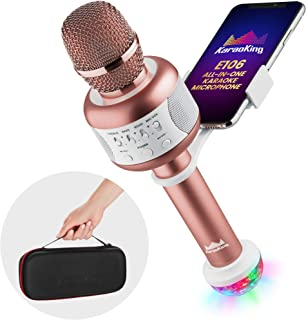 NEW Wireless Bluetooth Karaoke Microphone – Portable KTV Machine with Speaker + Free USB Disco Ball Light & Phone Holder Perfect for Pop, Rock n' Roll Solo Parties & More (E106 2.0 Pink)