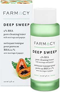 Farmacy Deep Sweep 2% BHA Toner for Face - Pore Cleaner and Facial Exfoliator with Salicylic Acid (4 Fl Oz)