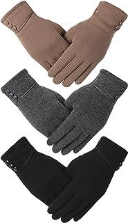دستکش زمستانی دیمور 3 جفت زنانه با انگشتان صفحه لمسی پیام کوتاه ضخیم گرم