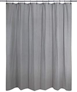 Unknown1 Washed Cotton Shower Curtain Charcoal Grey Solid Color Casual