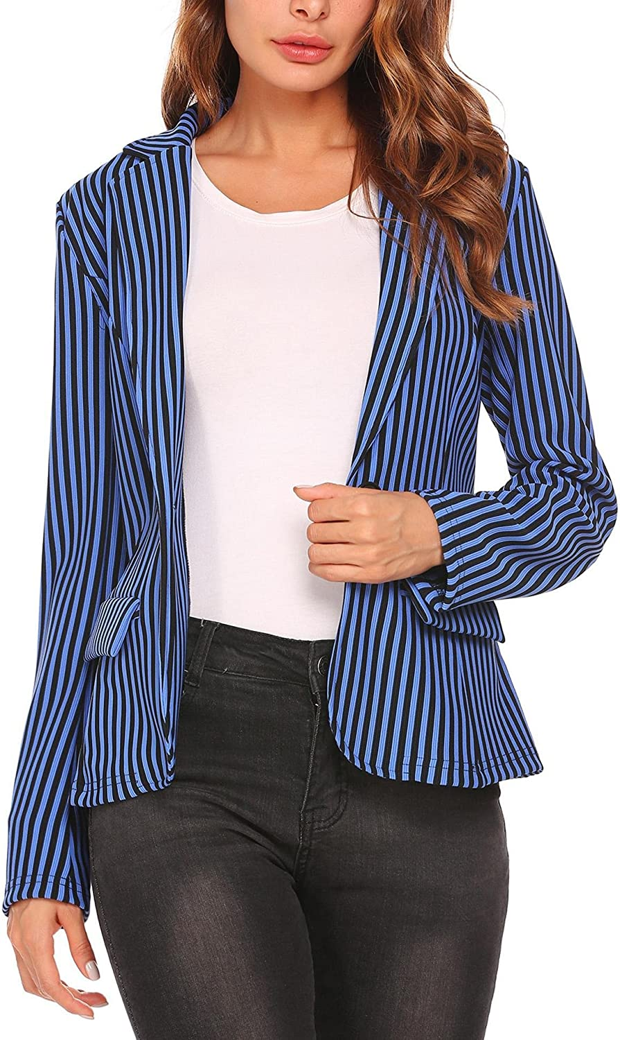 ANGVNS Business Blazer Women's Notched Lapel Stripe Cardigan Front Open Office Outerwear
