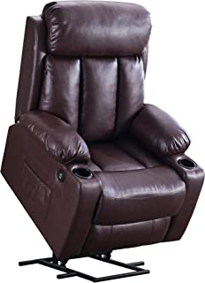 Mcombo Oversized Electric Power Lift Recliner Chair Sofa for Elderly Big and Tall People, 3 Positions, 2 Side Pockets and Cup Holders, USB Ports, Faux Leather 7406 (Dark Brown)