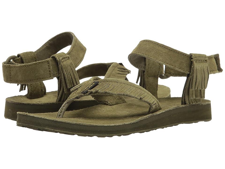 Teva Original Sandal Leather Fringe (Dark Olive) Women