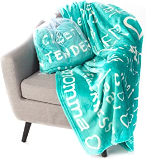 Blankiegram Mother Throw Blanket for Loving, Kind & Inspiring Moms   The Perfect Caring Gift (Teal)