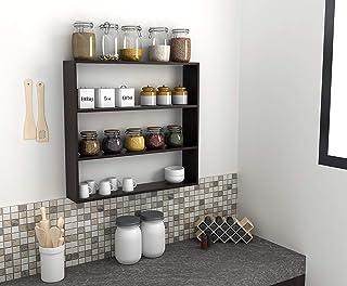 BLUEWUD Engineered Wood Multipurpose Kitchen Storage Rack Shelf (Wenge Finish)