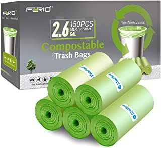 Small Trash Bags - FORID 2.6 Gallon Compostable Garbage Bags 150 Count Mini Strong Trash Can Liners 10 Liter Unscented Was...