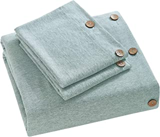 MUKKA 3 Pieces Heather Yarn Dyed Cotton Linen-Like Chambray Modern Simple Style Coconut Buttons Closure Duvet Cover Bedding Set Soft Luxuy Bed Linen (Ice Green Heather, King)