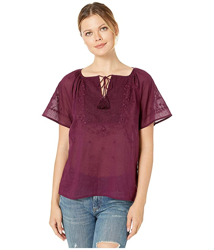 Lucky Brand  Embroidered Flutter Sleeve Top (Potent Purple) Womens Clothing