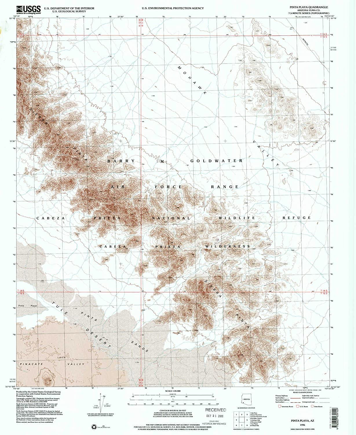 Pinta Playa AZ topo map, 1 24000 Scale, 7.5 X 7.5 Minute, Historical, 1996, Updated 2000, 26.8 x 22 in