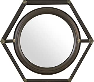 Stone & Beam Industrial Hexagonal Floating Metal Wall Mirror, 13 Inch Height, Black
