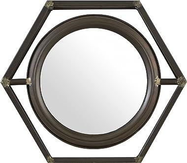 "Amazon Brand – Stone & Beam Industrial Hexagonal Floating Metal Wall Mirror, 13""H, Black"