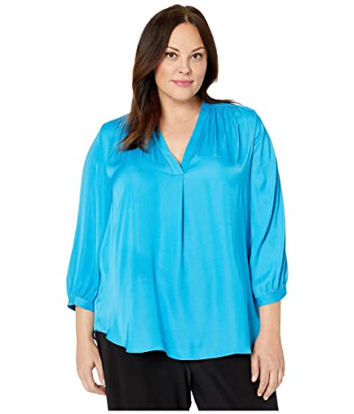 Vince Camuto Specialty Size Plus Size 3/4 Sleeve V-Neck Rumple Blouse (Lagoon) Women
