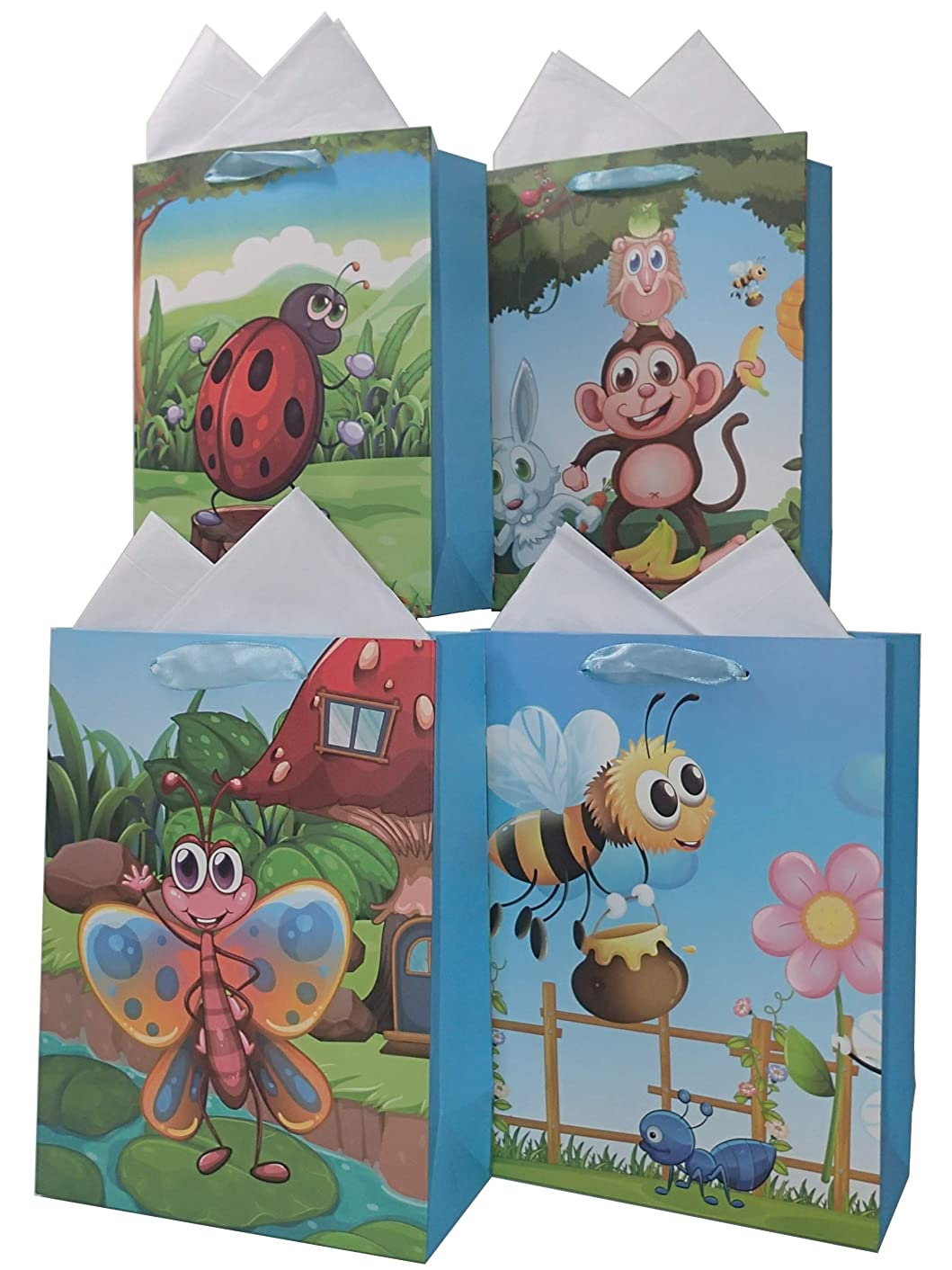 LARUX Gift Bag for Children Boy Girl Happy Birthday with Wrapping Tissue Paper Long Lasting Small Size Set of 4 (Bee Monkey)