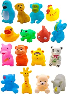 SaleOn 16 Pcs chuchu Mix Cute Animals Swimming Water Toys Non-Toxic , BPA Free Colorful Soft Rubber Float Squeeze Sound Sq...
