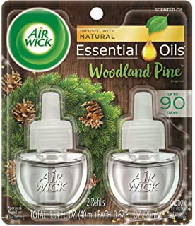 Air Wick plug in Scented Oil 2 Refills, Woodland Pine, Fall scent, Fall spray, (2x0.67oz), Essential Oils, Air Freshener, Packaging May Vary