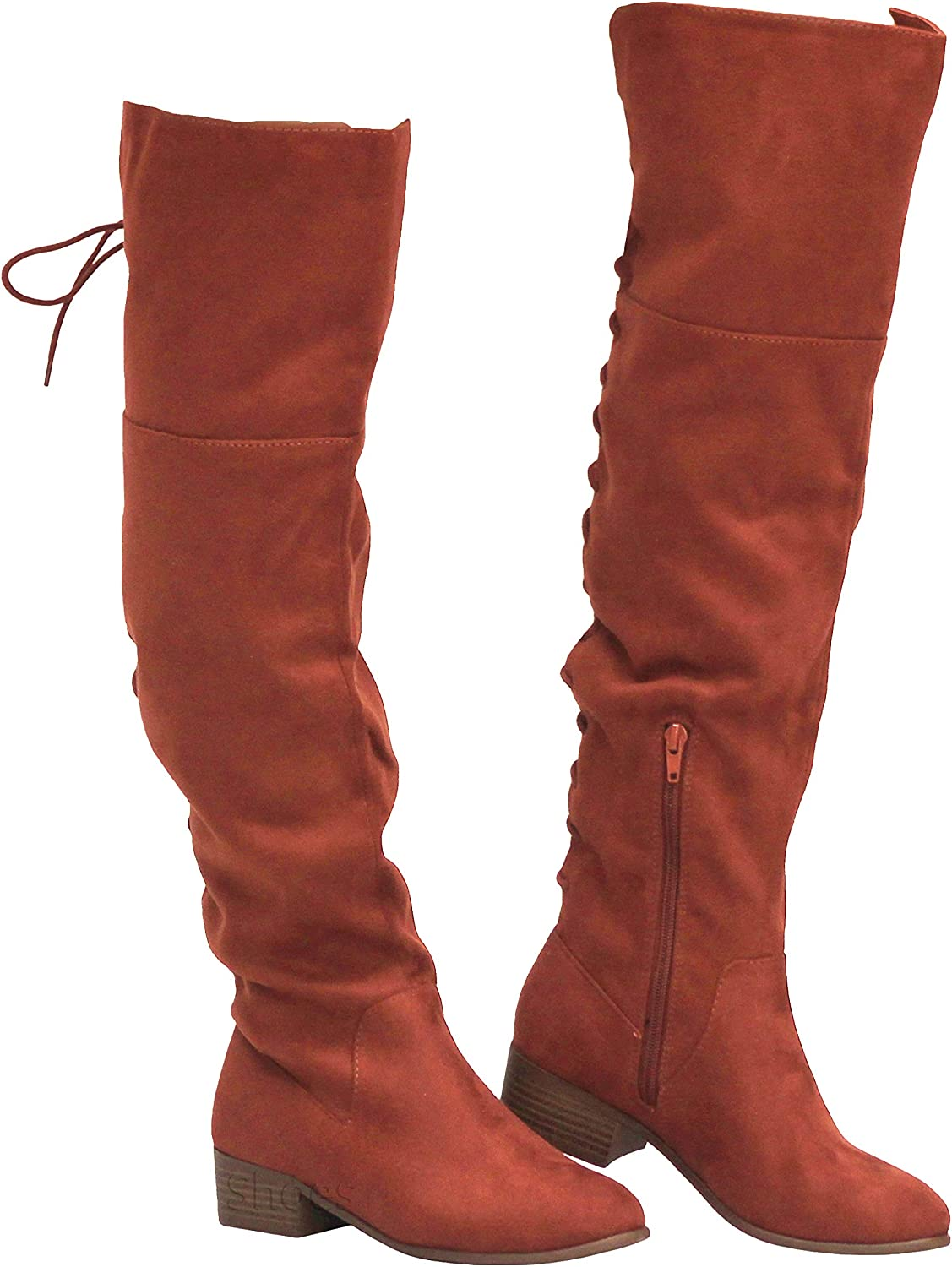 MVE Shoes Women's Over The Knee Back Lice Up Flat Boots