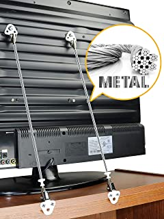 Metal Anti-Tip TV and Furniture Safety Straps Pack of 2- Childproof Wall Straps with Adjustable Length for Baby Proofing, with Discreet Design, Sturdy Hardware Included